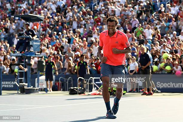 JoWilfried Tsonga of France reacts after defeating Jack Sock of the United States during his fourth round Men's Singles match on Day Seven of the...