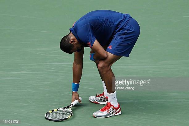 JoWilfried Tsonga of France reacts after losing a point to Tomas Berdych of Czech Republic during the Men's Single Quarterfinals of the Shanghai...