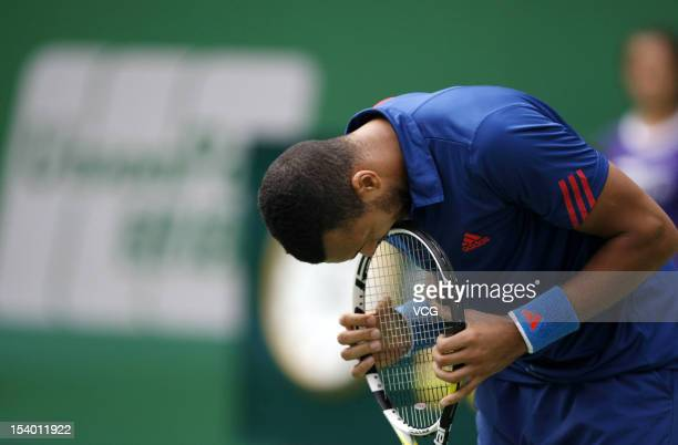Jo-Wilfried Tsonga of France reacts after losing to Tomas Berdych of the Czech Republic during day six of the Shanghai Rolex Masters at the Qi Zhong...
