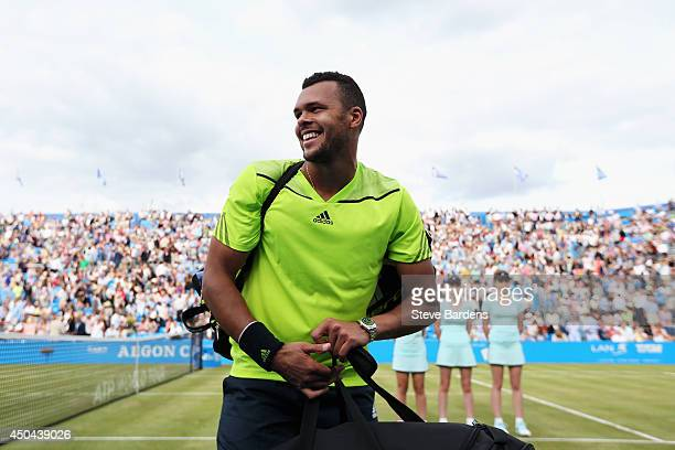 JoWilfried Tsonga of France reacts after winning his match against David Goffin of Belgium during their Men's Singles on day three of the Aegon...