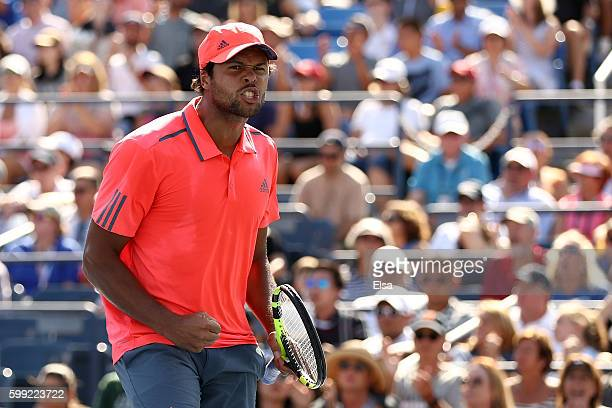JoWilfried Tsonga of France reacts against Jack Sock of the United States during his fourth round Men's Singles match on Day Seven of the 2016 US...