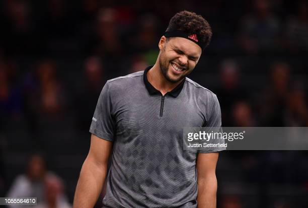 JoWilfried Tsonga of France reacts against Milos Raonic of Canada during Day 2 of the Rolex Paris Masters on October 30 2018 in Paris France