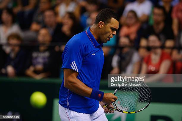 JoWilfried Tsonga of France reacts during his match against Tobias Kamke of Germany during day 3 of the Davis Cup Quarter Final match between France...