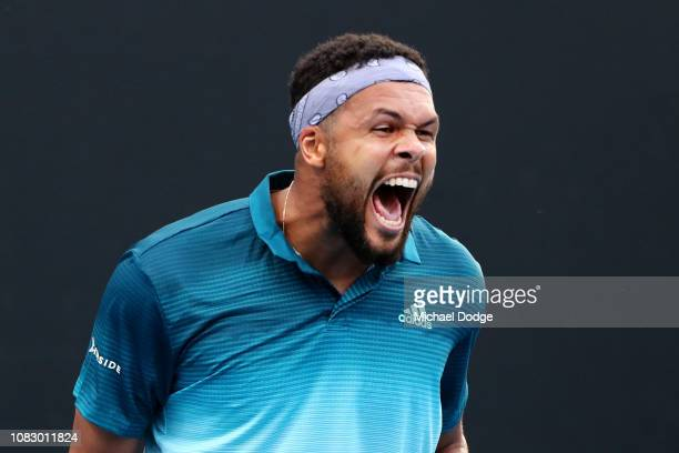 JoWilfried Tsonga of France reacts in his first round match against Martin Klizan of Slovakia during day two of the 2019 Australian Open at Melbourne...