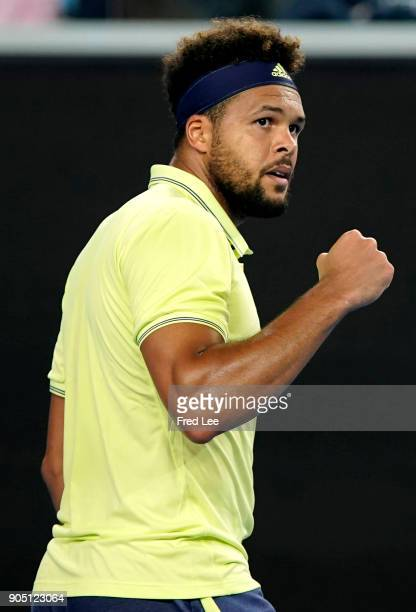 JoWilfried Tsonga of France reacts in his first round match against Kevin King of the United States on day one of the 2018 Australian Open at...