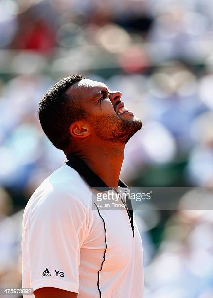 JoWilfried Tsonga of France reacts in his Men's Semi Final match against Stanislas Wawrinka of Switzerland on day thirteen of the 2015 French Open at...