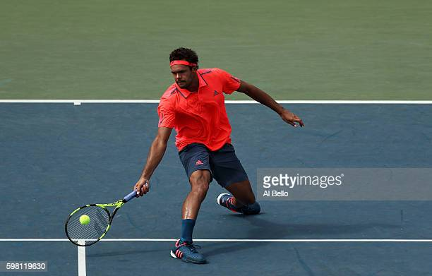 JoWilfried Tsonga of France returns a shot to James Duckworth of Australia during his second round Men's Singles match on Day Three of the 2016 US...