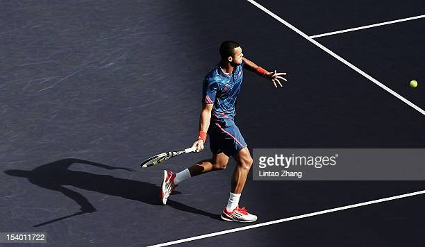 JoWilfried Tsonga of France returns a shot to Tomas Berdych of Czech Republic during the Men's Single Quarterfinals of the Shanghai Rolex Masters at...