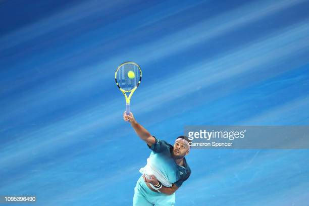 JoWilfried Tsonga of France serves against Novak Djokovic of Serbia during his second round match against during day four of the 2019 Australian Open...