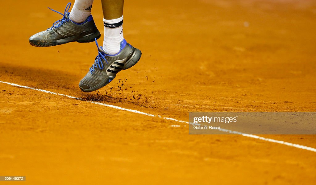 Jo-Wilfried Tsonga of France serves during a match between Leonardo Mayer of Argentina and Jo-Wilfried Tsonga of France as part of ATP Argentina Open at Buenos Aires Lawn Tennis Club on February 10, 2016 in Buenos Aires, Argentina.