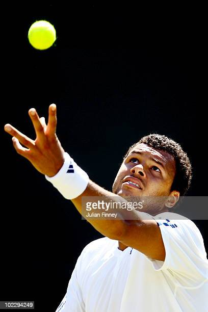 JoWilfried Tsonga of France serves during the first round match against Robert Kendrick of USA on Day Two of the Wimbledon Lawn Tennis Championships...