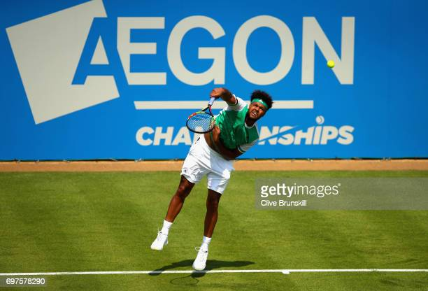 JoWilfried Tsonga of France serves during the mens singles first round match against Adrian Mannarino of France during day one of the 2017 Aegon...