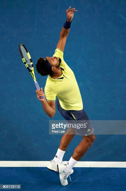 JoWilfried Tsonga of France serves in his first round match against Kevin King of the United States on day one of the 2018 Australian Open at...