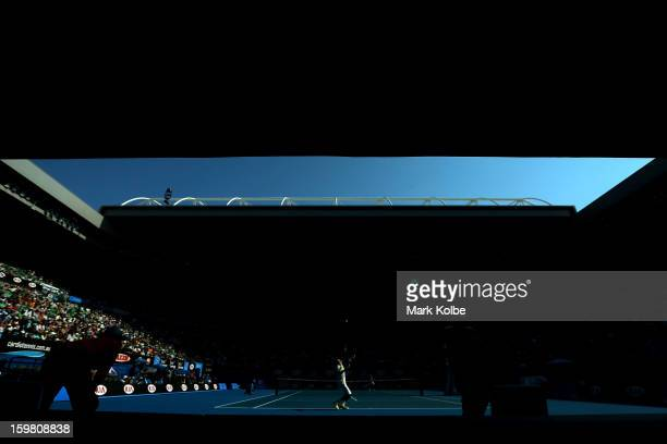JoWilfried Tsonga of France serves in his fourth round match against Richard Gasquet of France during day eight of the 2013 Australian Open at...