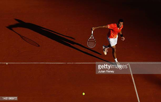 JoWilfried Tsonga of France serves in his match against Gilles Simon of France during day six of the ATP Monte Carlo Masters on April 20 2012 in...