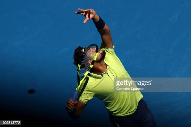 JoWilfried Tsonga of France serves in his second round match against Denis Shapovalov of Canada on day three of the 2018 Australian Open at Melbourne...