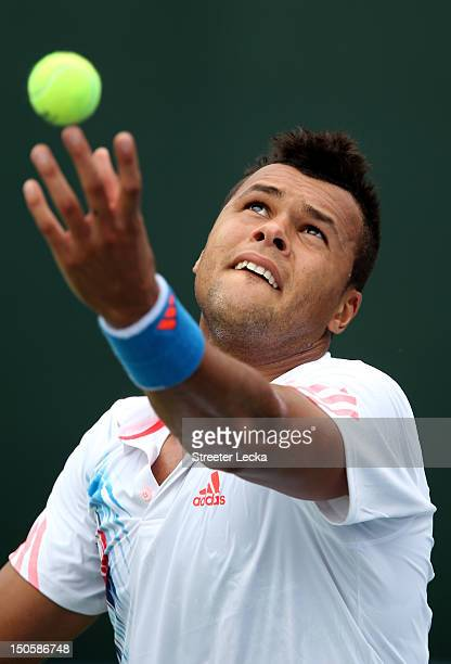 Jo-Wilfried Tsonga of France serves to Sergiy Stakhovsky of Ukraine during the third round of the Winston-Salem Open at Wake Forest University on...