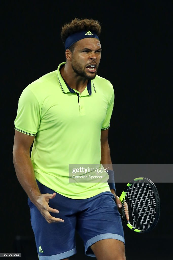 Jo-Wilfried Tsonga of France shows his emotion in his third round match against Nick Kyrgios of Australia on day five of the 2018 Australian Open at Melbourne Park on January 19, 2018 in Melbourne, Australia.