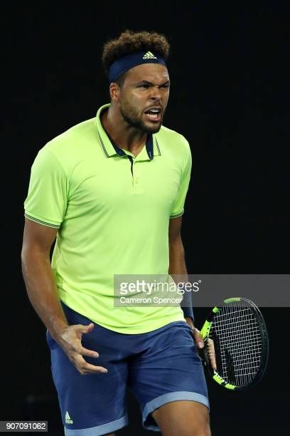 JoWilfried Tsonga of France shows his emotion in his third round match against Nick Kyrgios of Australia on day five of the 2018 Australian Open at...