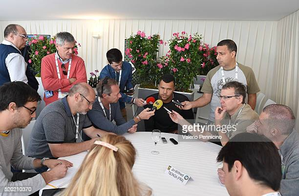 JoWilfried Tsonga of France speaks with journalist during media day during day One of the ATP Monte Carlo Masters at the MonteCarlo Country Club on...