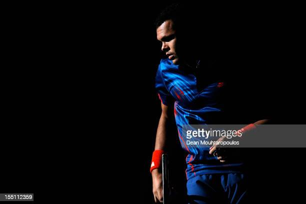 JoWilfried Tsonga of France walks out to play against Nicolas Almagro of Spain during day 4 of the BNP Paribas Masters at Palais Omnisports de Bercy...