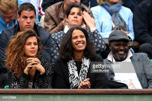 JoWilfried Tsonga of France's girlfriend Noura El Shwekh and sister watch his men's singles match against Pablo Andujar of Spain on day six of the...