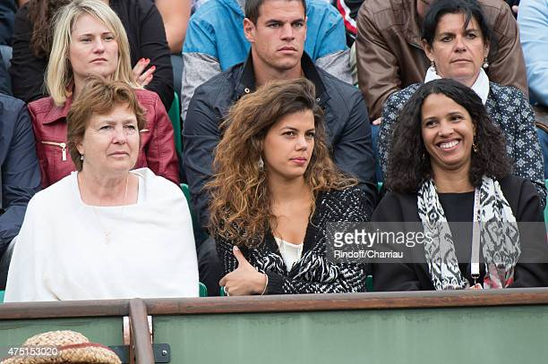 JoWilfried Tsonga of France's mother Evelyne Tsonga his girlfriend Noura El Shwekh and sister attend the French Open 2015 at Roland Garros on May 29...
