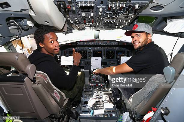 JoWilfried Tsonga of the Manila Mavericks and Gael Monfils of the Indian Aces in the cockpit at Delhi airport of the private players flight from...