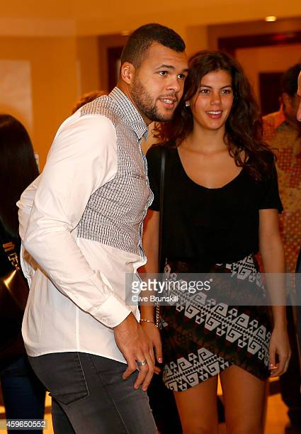 JoWilfried Tsonga of the Manila Mavericks and his girlfriend as they arrive at the IPTL gala dinner prior to the start of the CocaCola International...