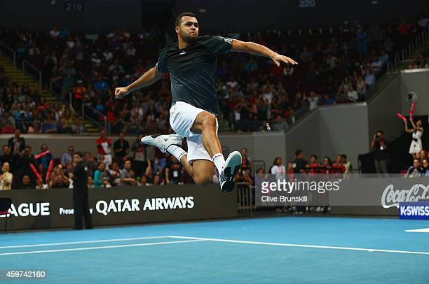 Jo-Wilfried Tsonga of the Manila Mavericks celebrates after victory in his doubles match with Treat Huey against Tomas Berdych and Nick Kyrgios of...