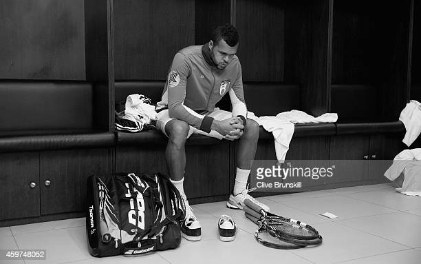 Jo-Wilfried Tsonga of the Manila Mavericks gets ready in the locker room before his teams match against the Singapore Slammers during the Coca-Cola...