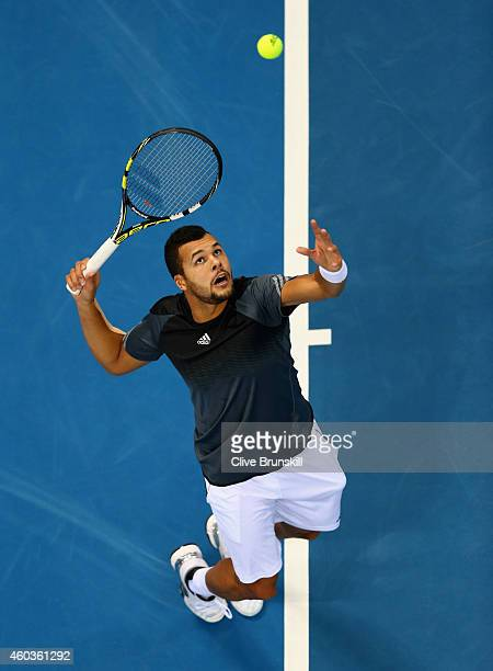 Jo-Wilfried Tsonga of the Manila Mavericks serves against Gael Monfils of the Indian Aces during the Coca-Cola International Premier Tennis League...