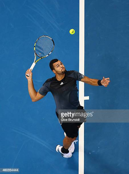 Jo-Wilfried Tsonga of the Manila Mavericks serves against Novak Djokovic of the UAE Royals during the Coca-Cola International Premier Tennis League...