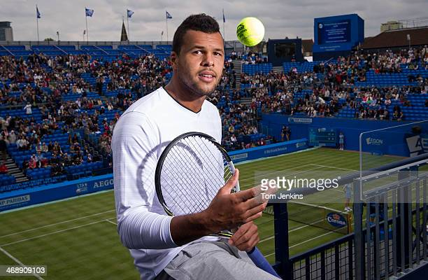JoWilfried Tsonga the French tennis player poses for a portrait at the Aegon Tennis Championships at Queens Club on June 10 2013 in LondonEngland