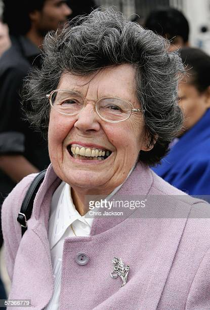 Joy Ash from Aylesbury in Buckinghamshire smiles before attending the Queen's 80th Birthday Lunch on April 19, 2006 at Buckingham Palace in London,...