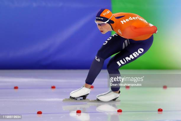 Joy Beune of Netehrlands competes in the 1500m Ladies Final during the ISU European Speed Skating Championships at the Thialf Arena on January 10...