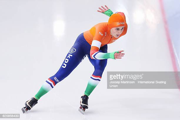 Joy Beune of Netherland competes in Junior Ladies 1000m during day one of ISU Junior World Cup Speed Skating at Minsk Arena on November 26 2016 in...