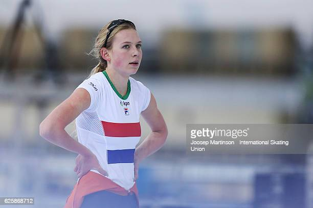 Joy Beune of Netherlands competes in Junior Ladies 3000m during day one of ISU Junior World Cup Speed Skating at Minsk Arena on November 26 2016 in...