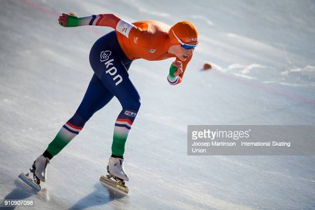 Joy Beune of Netherlands competes in the Ladies 1000m during the ISU Junior World Cup Speed Skating at Olympiaworld Ice Rink on January 27 2018 in...