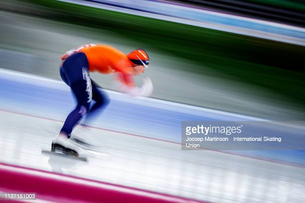 Joy Beune of Netherlands competes in the Ladies 1500m during day 3 of the ISU World Cup Speed Skating Hamar at Hamar Olympic Hall on February 03 2019...