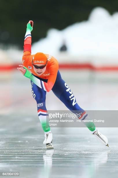 Joy Beune of Netherlands competes in the Ladies 1500m during day one of the World Junior Speed Skating Championships at Oulunkyla Sport Park on...