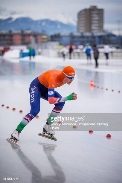 Joy Beune of Netherlands competes in the Ladies 1500m during day two of the ISU Junior World Cup Speed Skating at Olympiaworld Ice Rink on January 28...