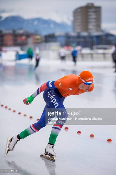 Joy Beune of Netherlands competes in the Ladies 1500m during day two of the ISU Junior World Cup Speed Skating at Olympiaworld Ice Rink on January...