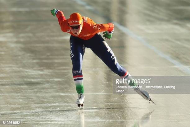 Joy Beune of Netherlands competes in the ladies 3000m during day two of the World Junior Speed Skating Championships at Oulunkyla Sports Park on...