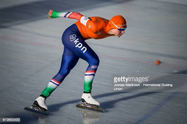 Joy Beune of Netherlands competes in the Ladies 3000m during the ISU Junior World Cup Speed Skating at Olympiaworld Ice Rink on January 27 2018 in...
