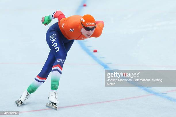 Joy Beune of Netherlands competes in the Ladies 500m during day one of the World Junior Speed Skating Championships at Oulunkyla Sport Park on...