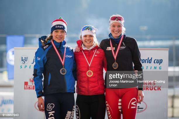 Joy Beune of Netherlands Karolina Bosiek of Poland and Ragne Wiklund of Norway pose in the Ladies 3000m medal ceremony during the ISU Junior World...