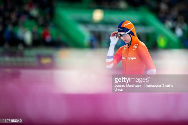 Joy Beune of Netherlands prepares in the Ladies 1500m during day 3 of the ISU World Cup Speed Skating Hamar at Hamar Olympic Hall on February 03 2019...