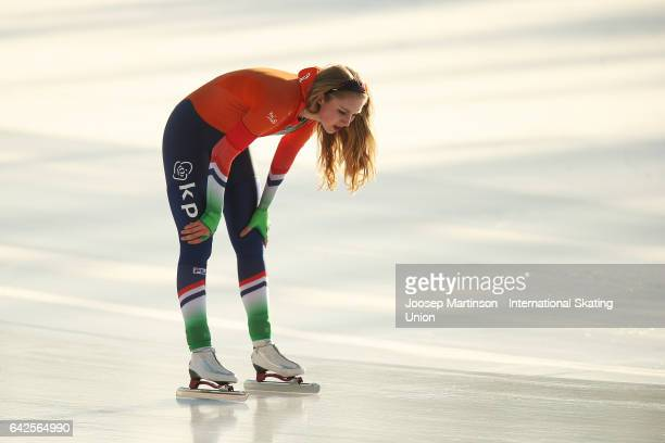 Joy Beune of Netherlands reacts after competing in the ladies 3000m during day two of the World Junior Speed Skating Championships at Oulunkyla...