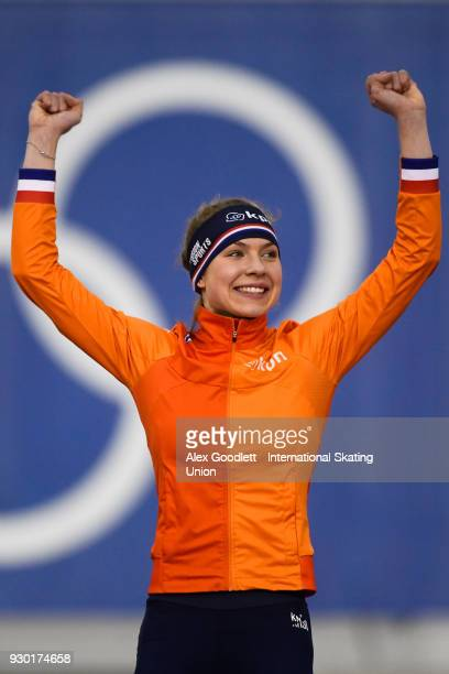 Joy Beune of the Netherlands celebrates after winning the ladies 1000 meter final during the World Junior Speed Skating Championships at Utah Olympic...
